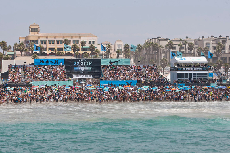 More than a thousand surf fans crowd Huntington Beach for the U.S. Open.