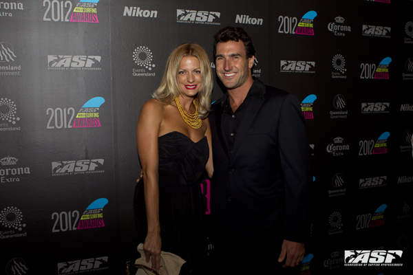 Mr and Mrs Parkinson at last year's ASP World Surfing Awards. Pic ASP/Kirstin