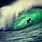 Mega Semadhi in a big barrel during Rip Curl Padang Cup. Posted on 2013-02-15.