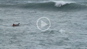 Video: Surfer Stuck in Rip Current