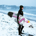 Sally Fitzgibbons chases the  perfect wave in icy waters of Nova Scotia