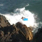 Video: Bodyboarder washed off rocks
