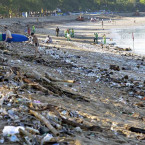 Mountains of Trash Wash Ashore in Kuta