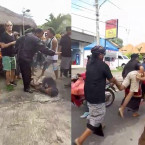 Alleged Bag Thief in Padang Padang, Bali are Brutally Beaten By Passers-by