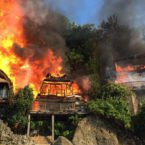 Fire Destroyed Several Homes and Warungs at Padang Padang, Bali