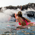 Alison Teal Paddle Out During A Volcanic Eruption