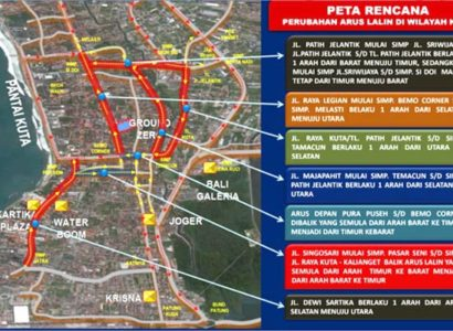 Massive Changes in Traffic Flow Directions for Kuta and Legian to Take Effect from March 1, 2017