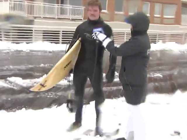 """First Time"" Storm Surfer Trolls NY News Crew"