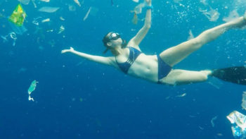 Perth Free-Diver Swims Through Three Tonnes of Rubbish in Bali